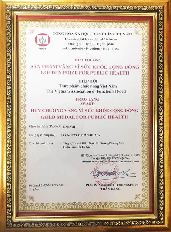 giải thưởng vì sức khỏe cộng đồng của Dakami