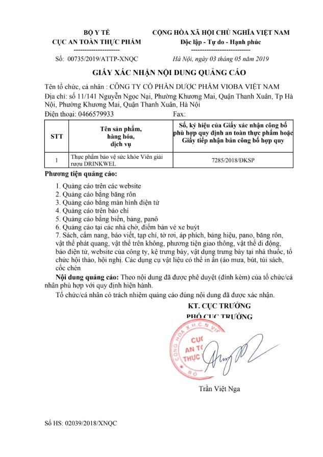 giấy chứng nhận an toàn thực phẩm của viên giải rượu drinkwel