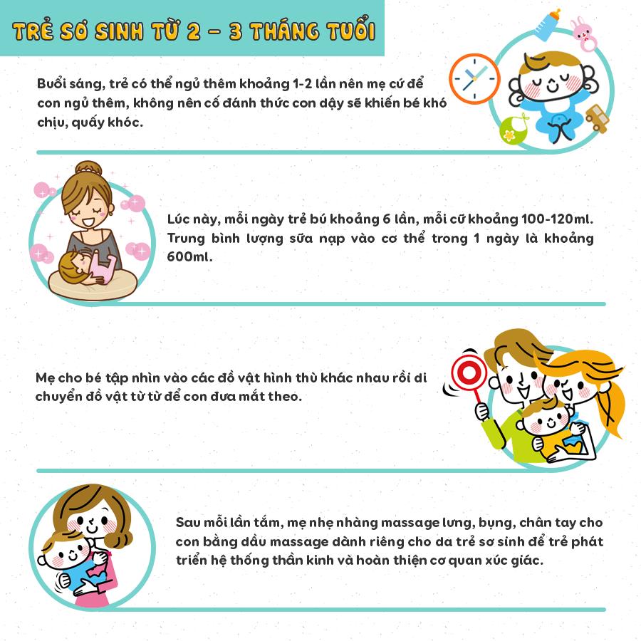 Chăm sóc trẻ sơ sinh 2-3 tháng tuổi