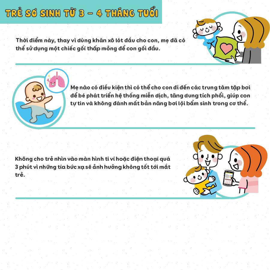 chăm sóc trẻ sơ sinh 3-4 tháng tuổi