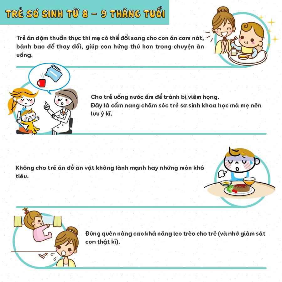 chăm sóc trẻ sơ sinh 8 tháng tuổi