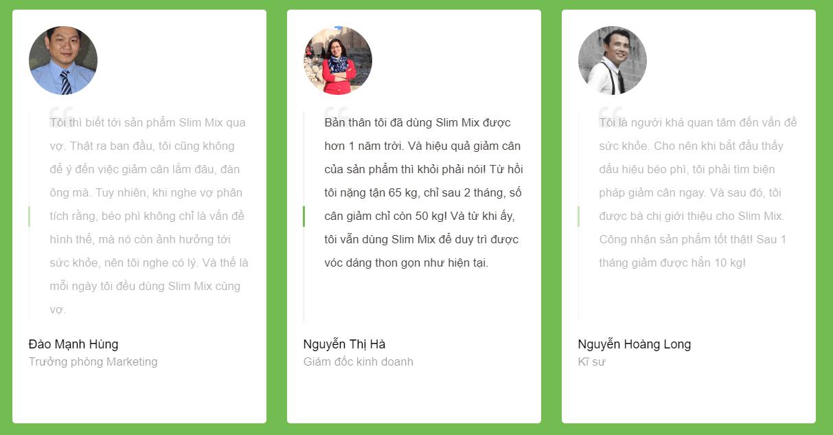 khách hàng đánh giá giảm cân slim mix