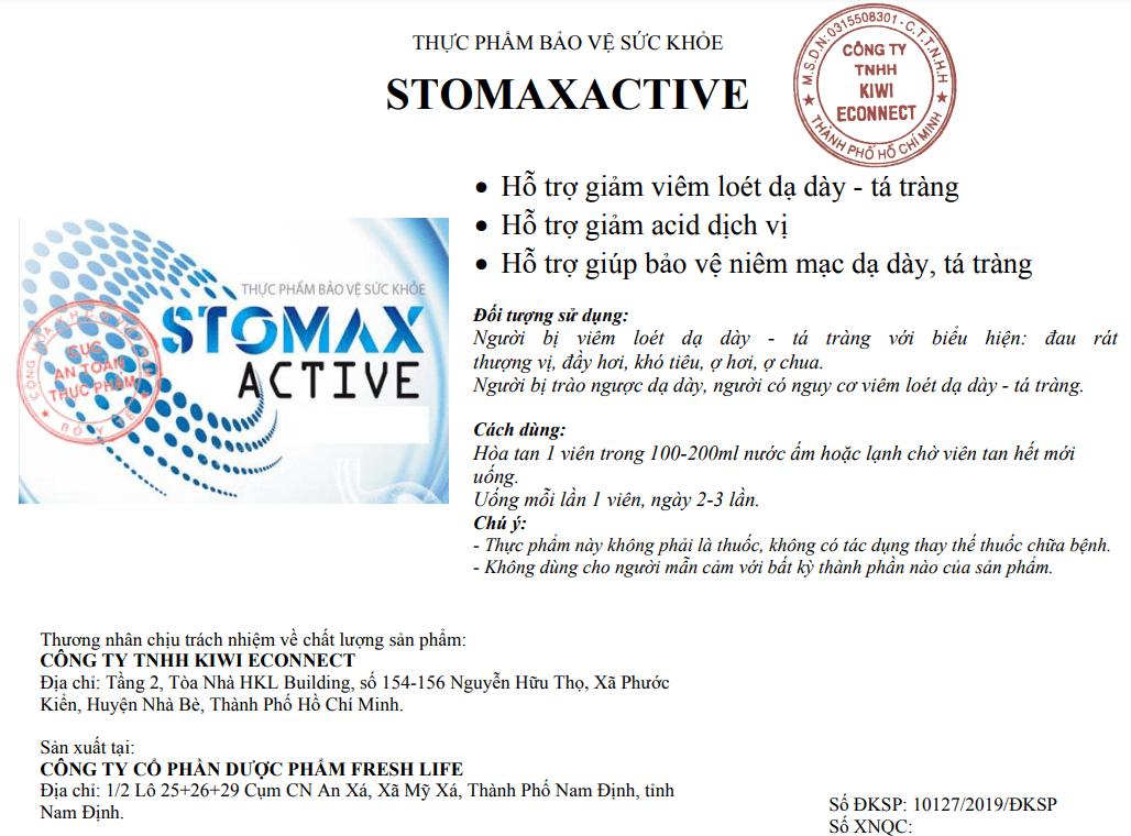 Stomax Active được bộ y tế cấp phép