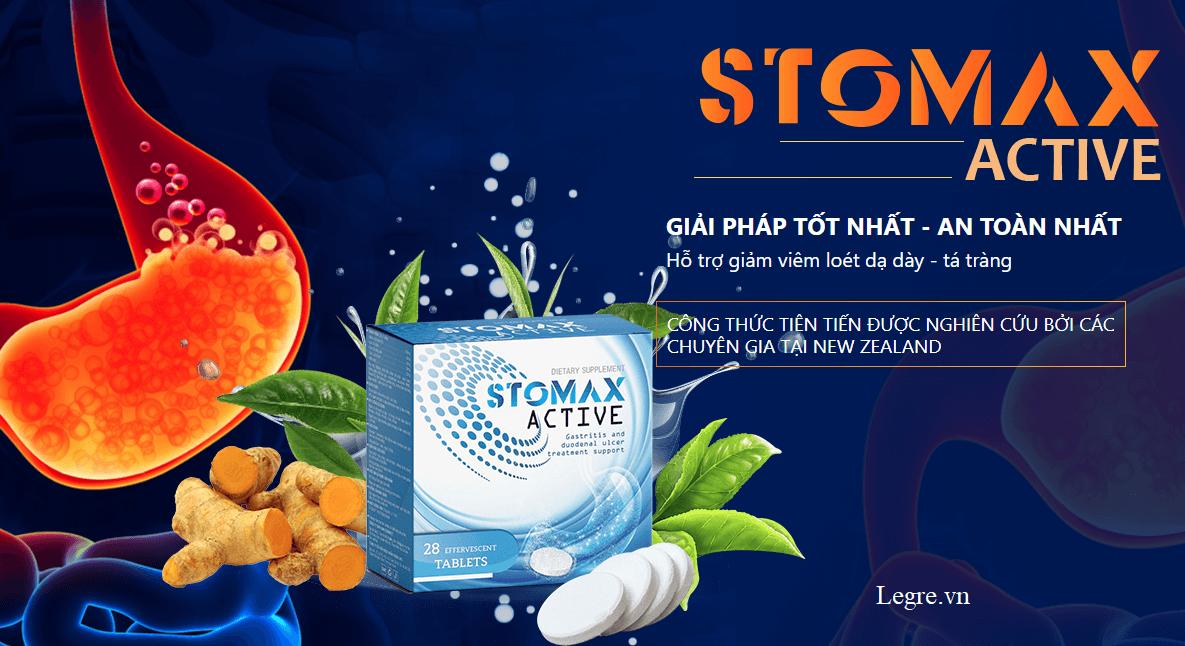 Stomax active hỗ trợ giảm viêm loét dạ dày, tá tràng