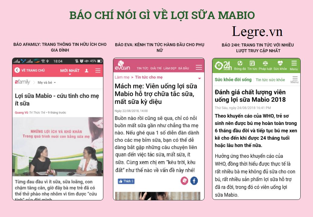 báo chí nói về viên uống lợi sữa Mabio