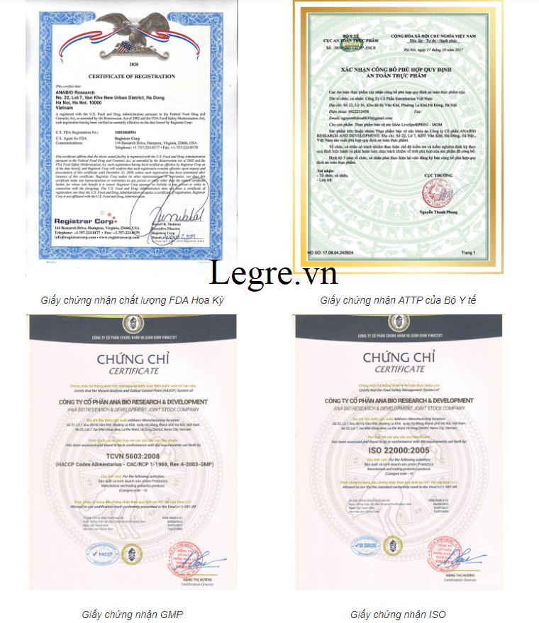 Giải thưởng và giấy chứng nhận của Pregmom