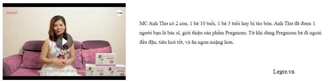 MC Anh Thư đánh giá Pregmom Bào tử lợi khuẩn